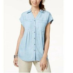 Style & Co XS Ice Wash Blue 2 Pocket Top NWT CP86